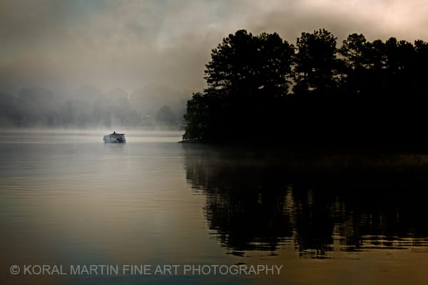 Foggy Sunrise with Boat at Ky Lake Barkley Photograph 8538 C SRGB  | Kentucky Photography | Koral Martin Fine Art Photography