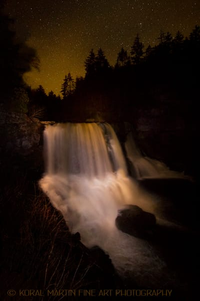 Blackwater falls Light Painting Photograph 1485  | Night Photography | Koral Martin Fine Art Photography