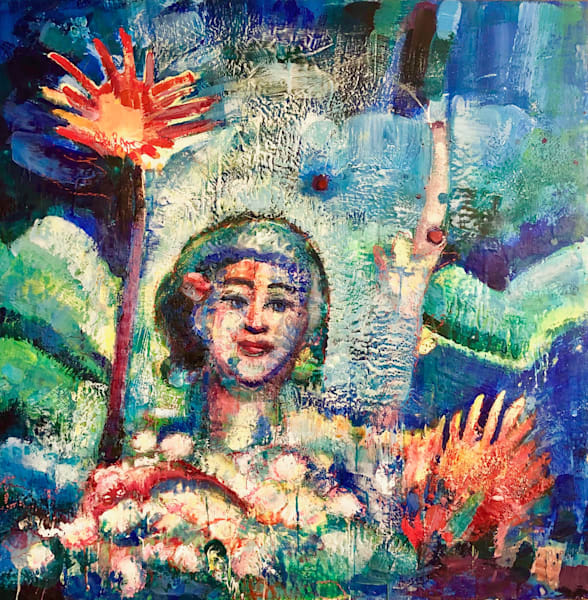 "This beautiful fauvist portrait ""Radiant Woman 10 Waterlily Saint, large  version"" painting is done with encaustic wax,pigment on wood.  Measures  36""h x 36""w on wood panel framed with whitewashed floater frame."