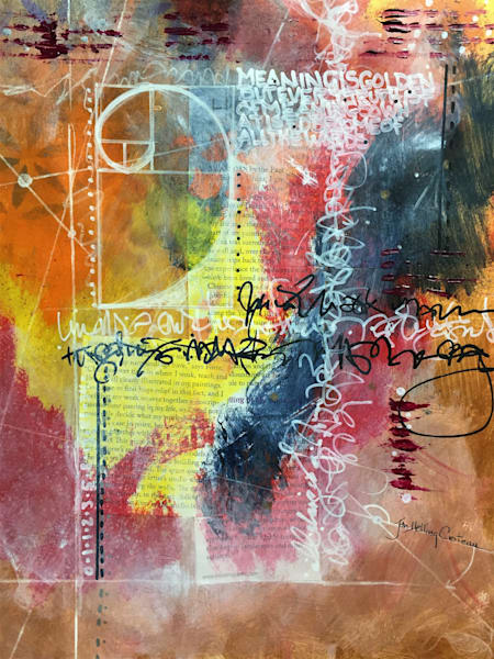 Abstract mixed media on paper, Poetic Design, golden mean, Fibonacci