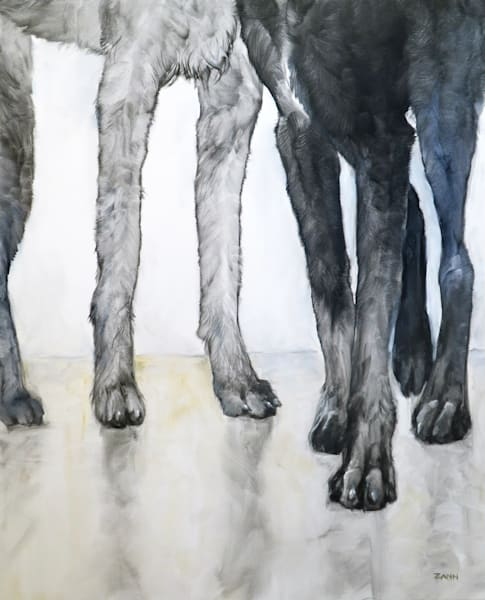 """Tall Friends"" Oil Painting of Wolfhound Dog Legs"