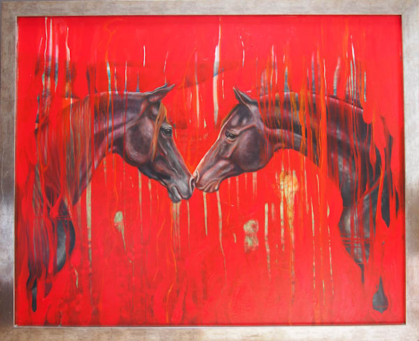 an abstract oil painting in red and black with two black Arabian horses in a poppy field