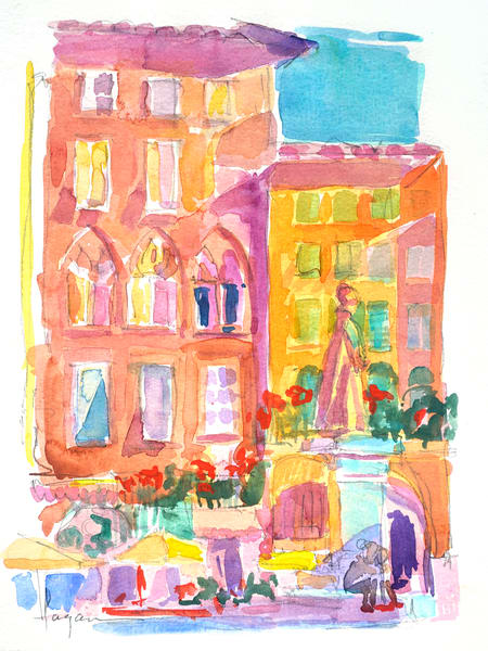 Watercolor Painting Lucca Italy by Dorothy Fagan