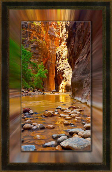 Zion - Narrows Pano 3D Leather 3D Art Print