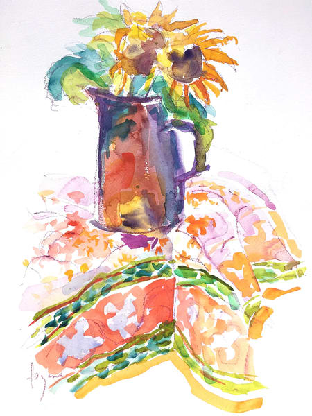 French Sunflowers Still Life Watercolor Painting by Dorothy Fagan