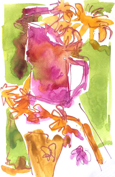 Abstract Watercolor Sketch Sunflowers by Dorothy Fagan
