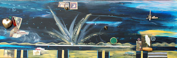 Midnight Cruise mixed media collage and assemblage on wood 12x36