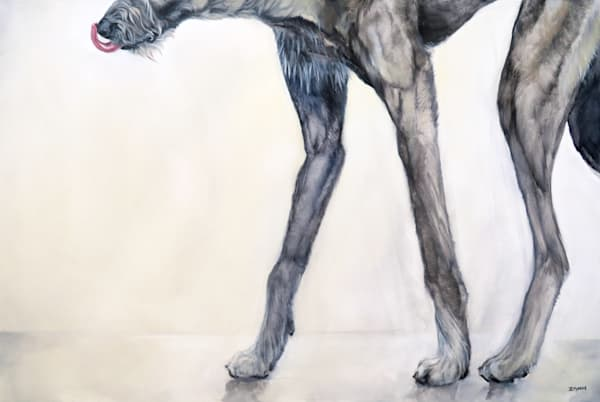 Oil Painting of Tall Irish Wolfhound Dog Legs