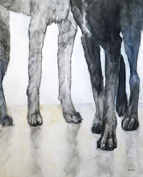 Tall Friends Dog Legs Oil Painting by Zann Hemphill