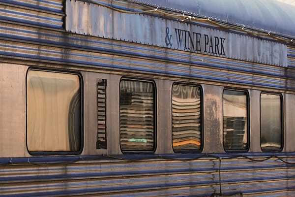 'Drink Wine Ride a Train' Photograph by Nancy Miller for sale as Fine Art