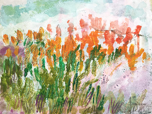 Abstract Poppies Watercolor Painting Fine Art Print by Dorothy Fagan