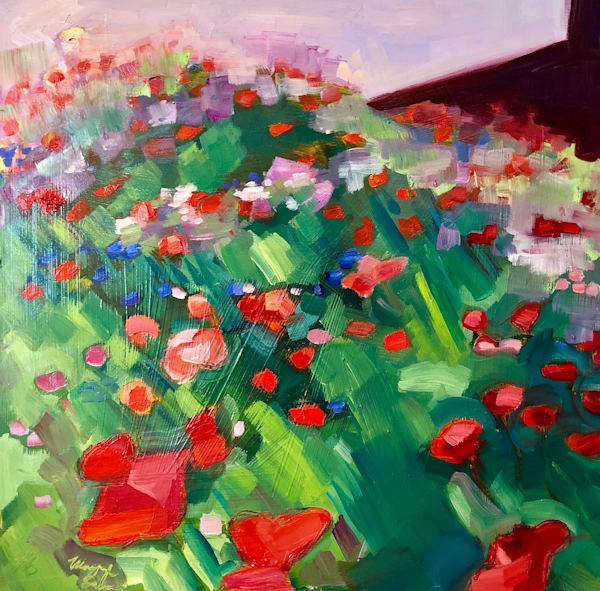 """""""Poppy Meadow""""  by Monique Sarkessin plein air painting is done with oil paint on wood.panel 12""""h x 12""""w ."""