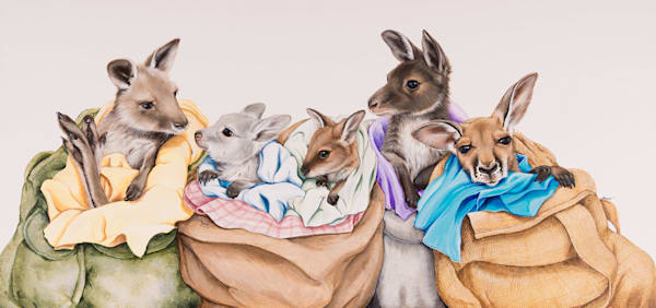 Pouch Pals - Joeys in Pouches | Acrylic on Clayboard