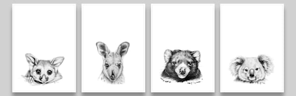 Furred Pencil Collection - Drawings of Tasmanian Devil, Possum, Wallaby & Koala