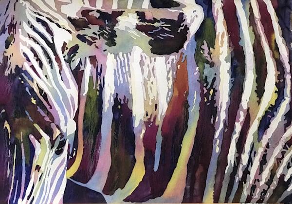 Zebra Strikes Curious Pose.  Fine Art Painting.  Shop Prints/ Patrice Cameron Art.