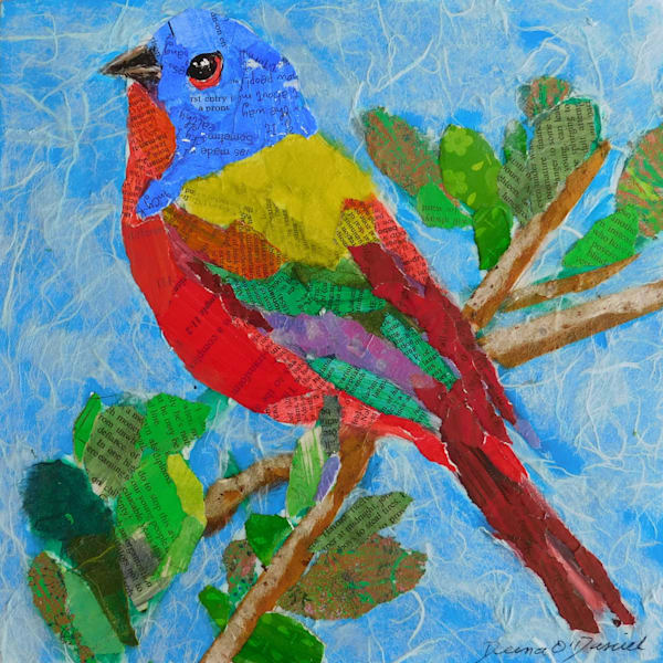 Male Painted Bunting paper collage