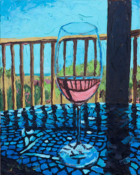 A Welcome Break Wine Painting | Fer Caggiano Art