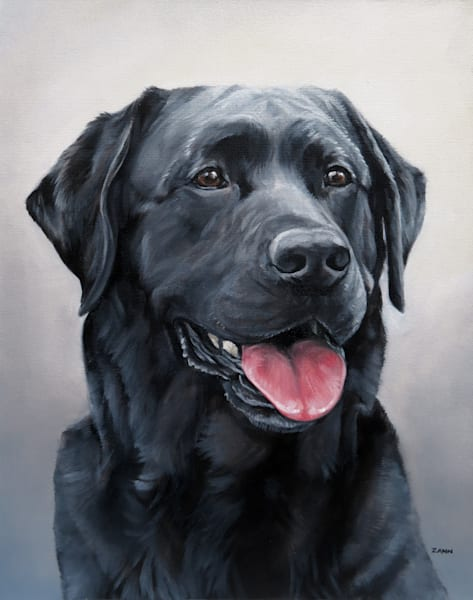 Black Labrador Retriever Oil Painting Portrait Art 3/4