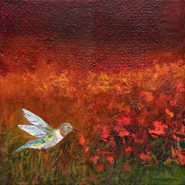 Hummingbird With Red Flowers Painting