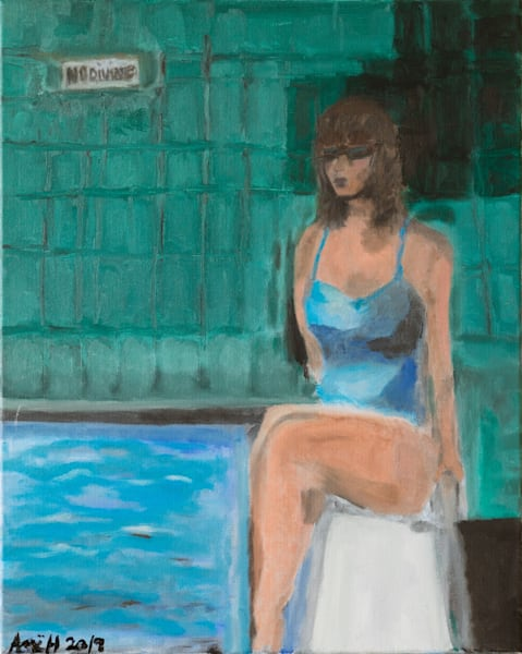 No Diving original oil painting