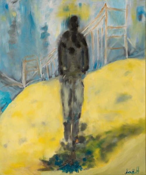 Man walking away golden gate bridge