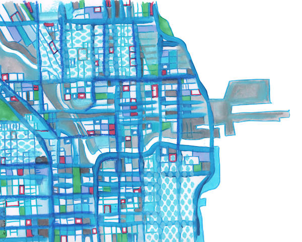 Modern Map Art – Abstract City Map of Chicago Downtown. Purchase A Fine Art Print of Navy Pier by Carland Cartography