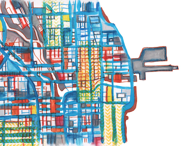 City Travel Print – Abstract Chicago Print of Navy Pier - Purchase City Neighborhood Print | Modern City Map  by Carland Cartography