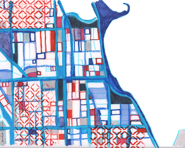 Neighborhood Map Print of Chicago – Abstract Street Map of Gold Coast  - Purchase Abstract Office Décor | Modern Map Art | Modern City Print  by Carland Cartography