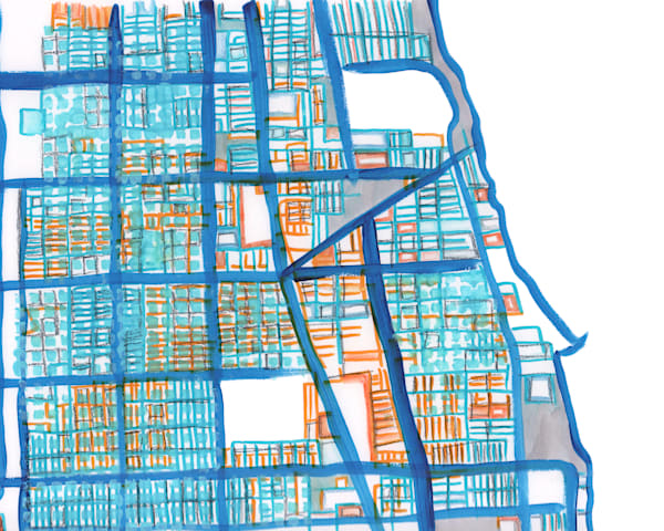 Abstract Office Décor – Chicago Abstract Map Print of Rogers Park Neighborhood - Purchase City Neighborhood Map | Neighborhood Map Print | City Neighborhood Art  by Carland Cartography