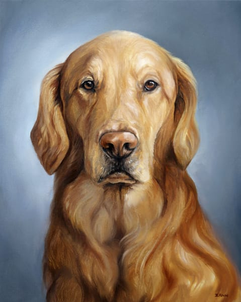 Golden Retriever Dog Art Print of Oil Painting Artwork