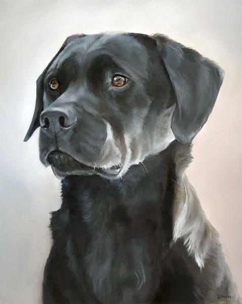 Print of a Black Labrador Retriever Dog, Portrait Painted in Oil