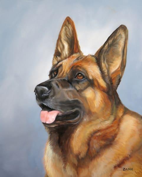 Print of German Shepherd Dog Painted Portrait in Oil