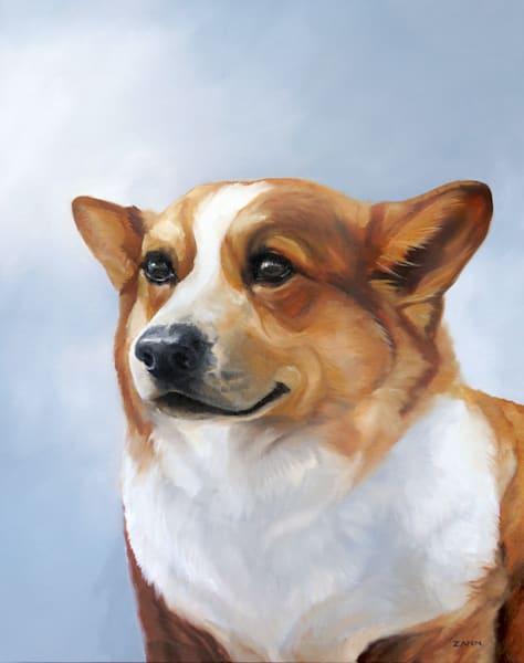 Corgi Art Print, Dog Portrait in Oil by Zann Hemphill