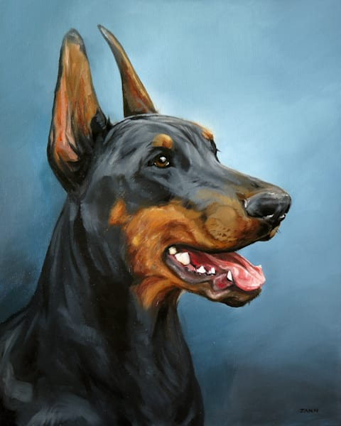 Print of Doberman Art, Oil Painting by Zann Hemphill