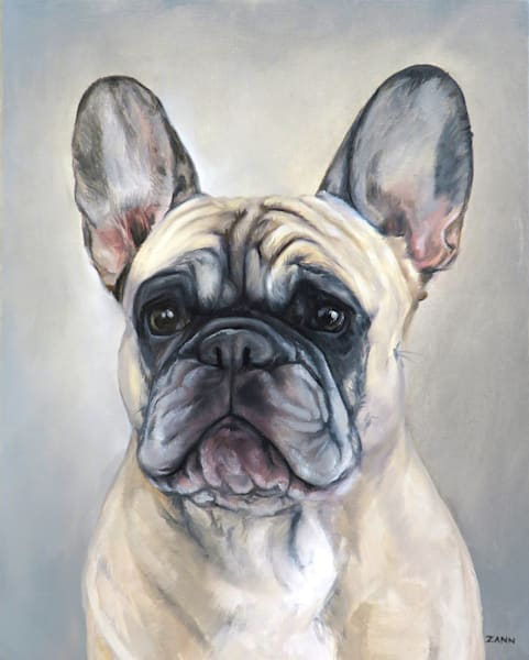Print of a French Bulldog Portrait Painted in Oil