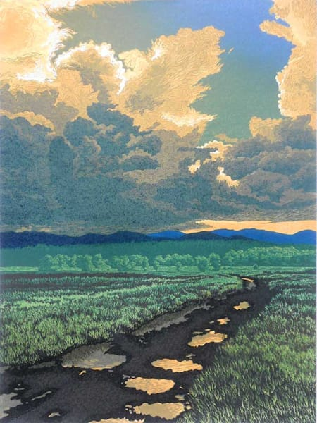 After The Storm, color linocut print by William H. Hays