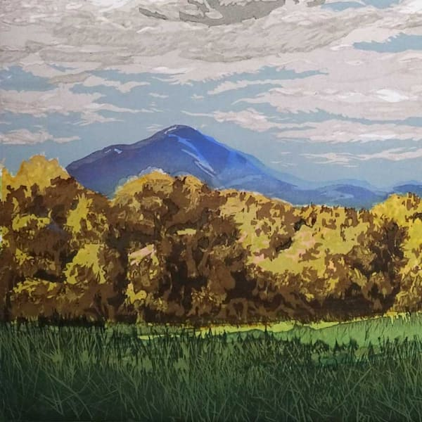 Ascutney Afternoon, 1st state, a woodcut print by William Hays and Matt Brown