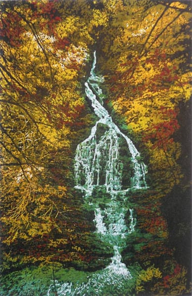 Deep Wood Falls, linocut print by William H. Hays