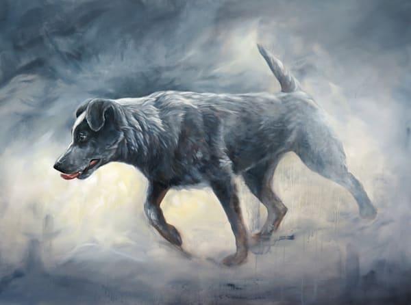 Cattle Dog In Pursuit Art | Van Isle Dog Art
