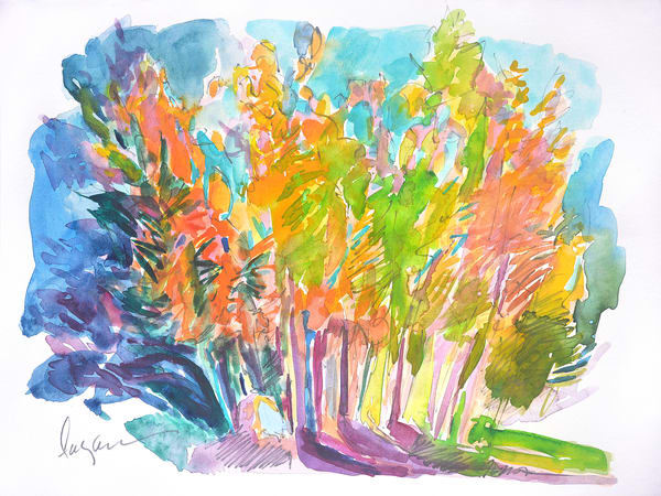 Abstract Trees Watercolor Painting Fine Art Print by Dorothy Fagan