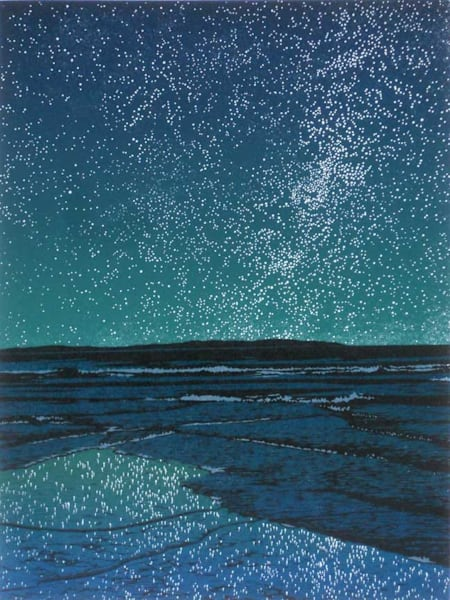 Island Universe, linocut print by William H. Hays