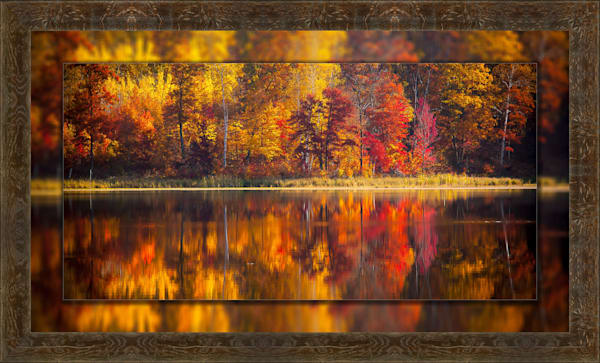 Fall Reflection Pano 3d Reclaimed Timbers 3D Art Print