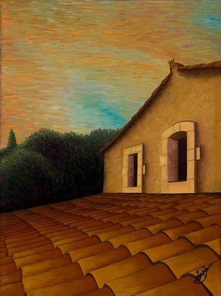 Coucher de soleil vu du toit Ménerbes