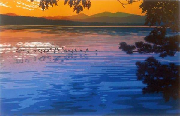 Skimming The Sunset II, linocut print by William H. Hays