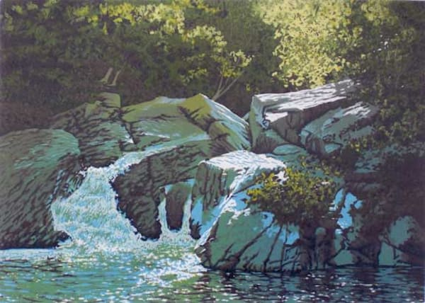 Summer Falls, linocut print by William H. Hays