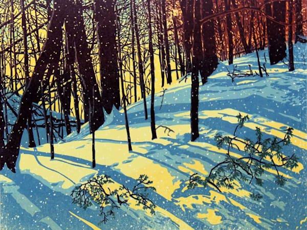 Sunshine Snowfall, linocut print by William H. Hays
