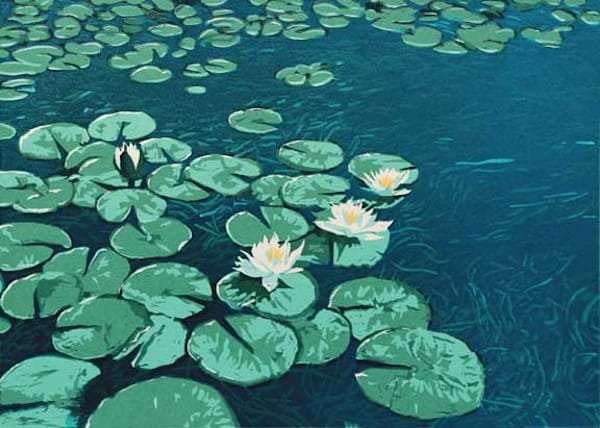 Water Lilies, linocut print by William H. Hays