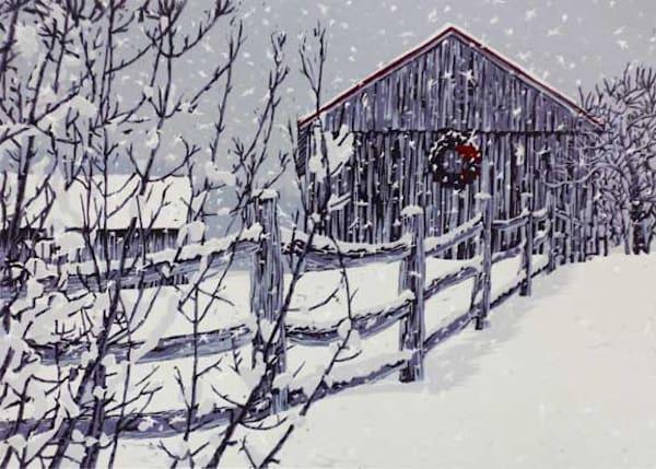 Winter's Gown, linocut print by William H. Hays