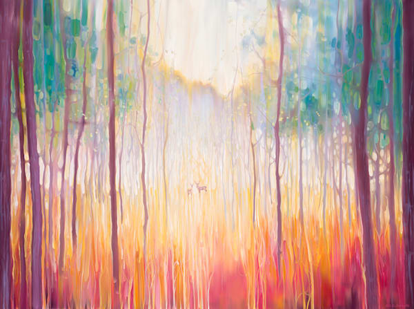 a large oil painting of an autumn abstract landscape with deer in a forest