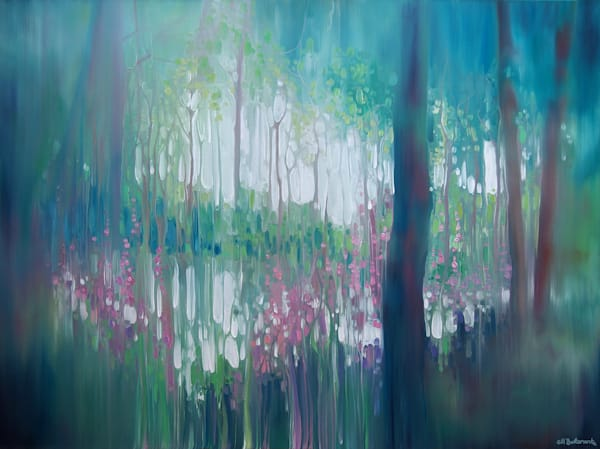 Print of The Discovery abstract forest landscape with lake and flowers